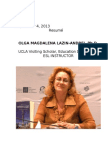 Cv Dr Olga Lazin, September 27, 2013.