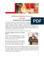 Child Marriage Event Report - Plan International Bangladesh - 10 September 2013, Dhaka