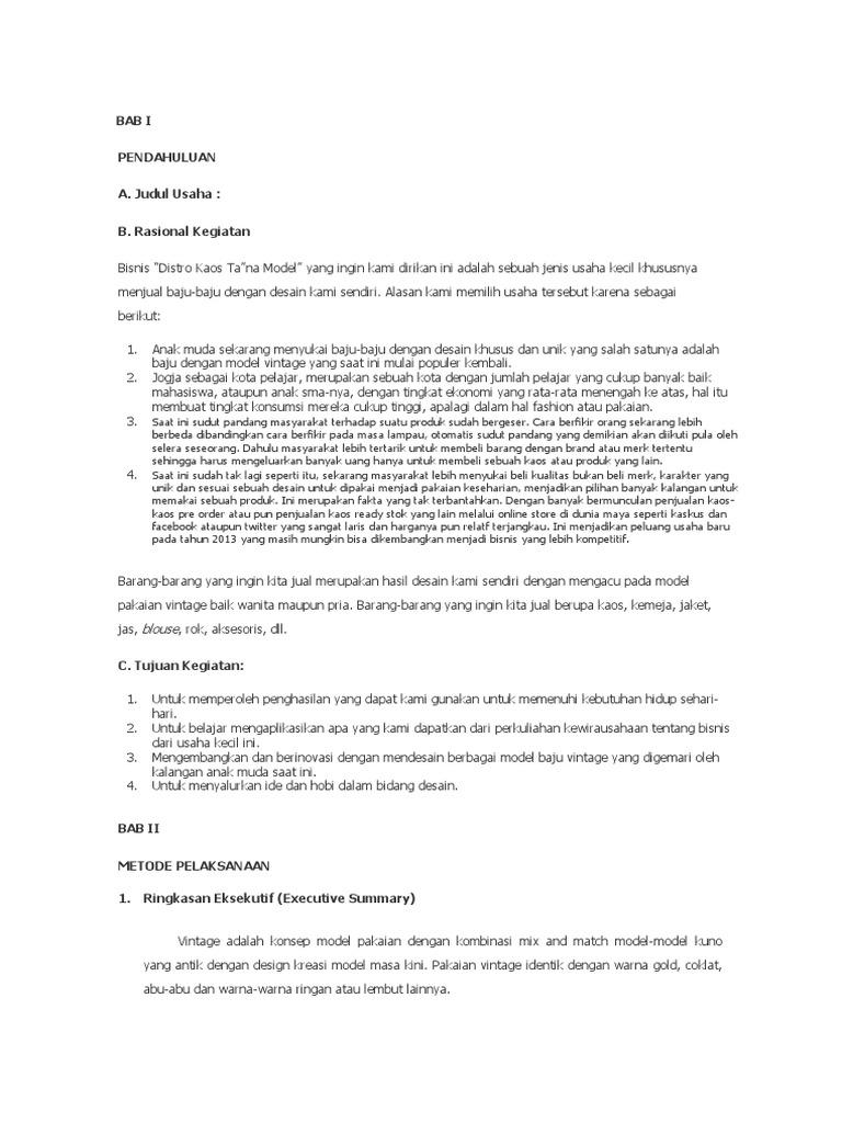 contoh makalah business plan distro