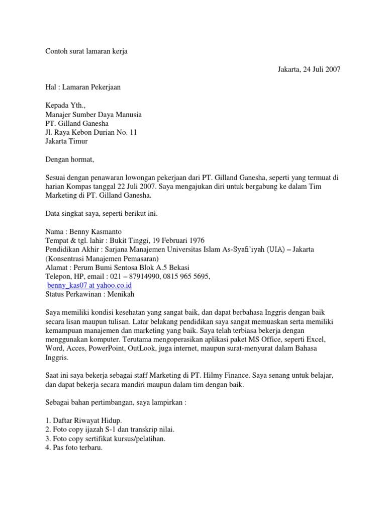 Contoh Surat Lamaran Pekerjaan Marketing Manager Dalam Bahasa Inggris Berbagi Contoh Surat