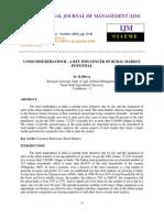 Consumer Behaviour - A Key Influencer of Rural Market Potential