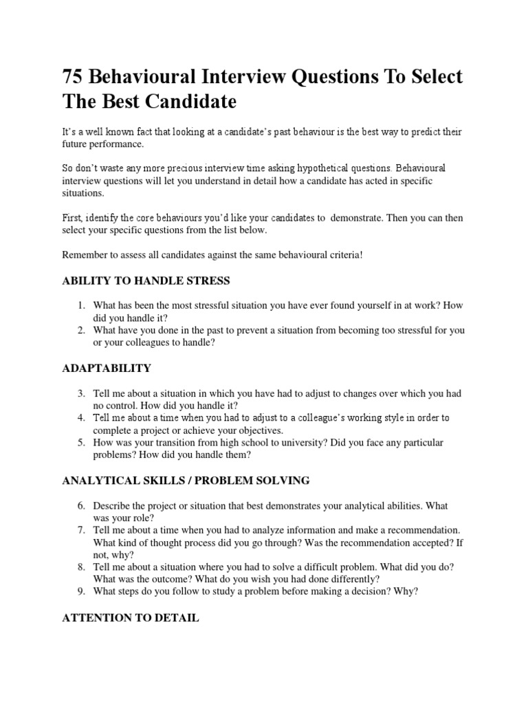 behavioural interview questions job interview leadership