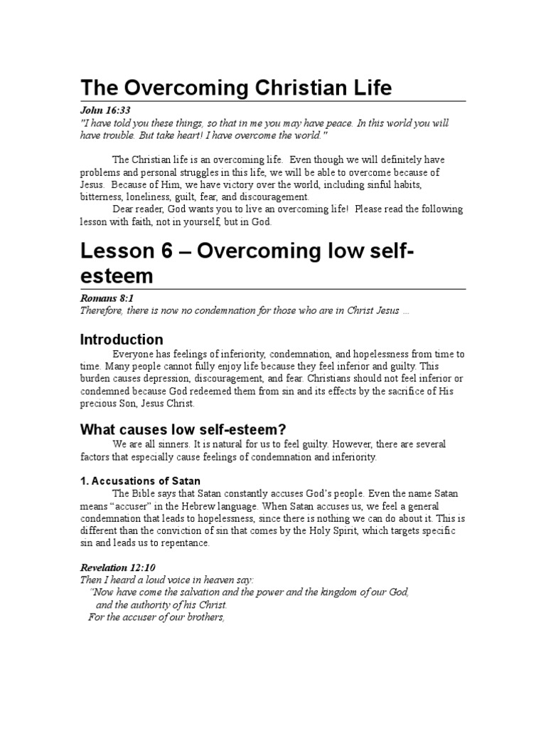 Overcoming Low Self-Esteem - Bible Study Lesson | Grace In