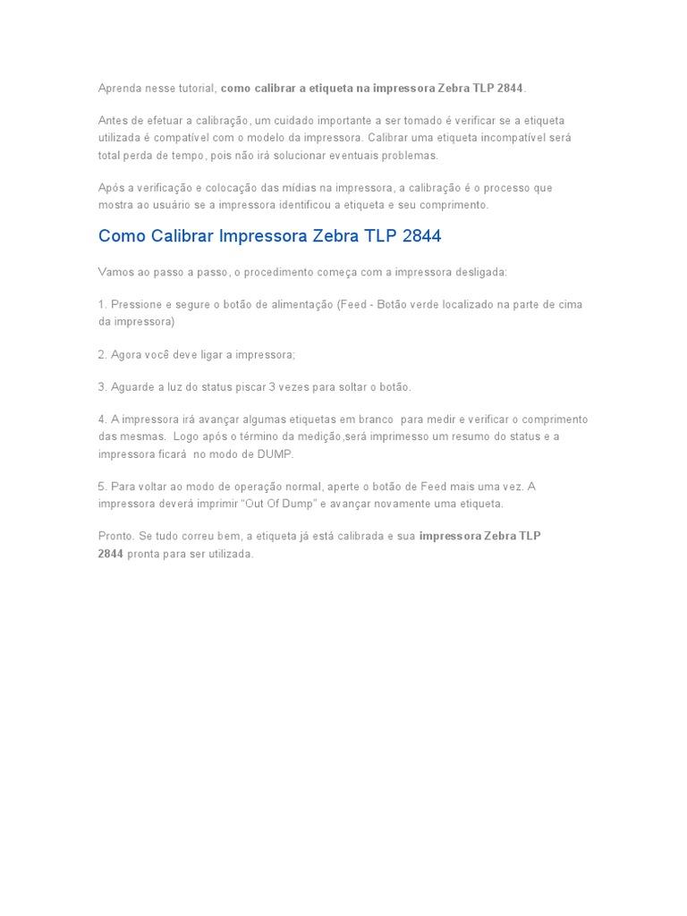 Como Calibrar Impressora Zebra Tlp 2844