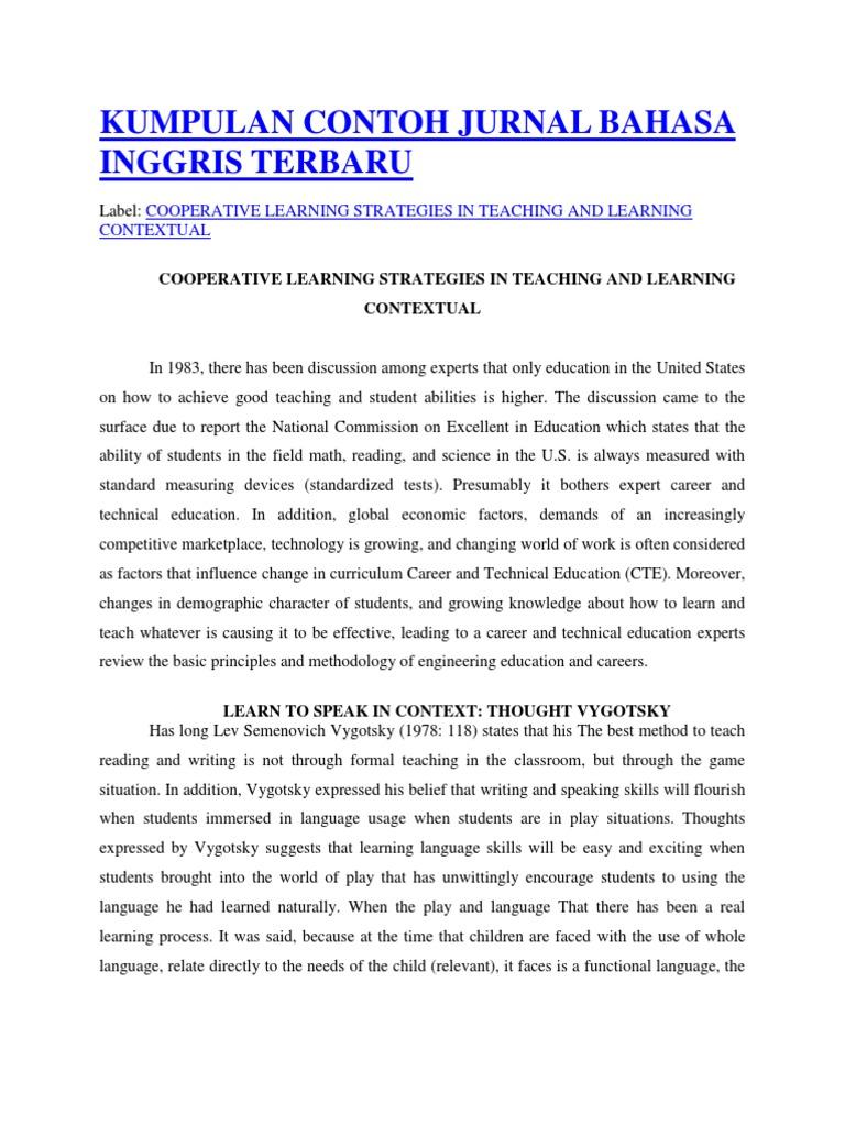 Kumpulan Contoh Jurnal Bahasa Inggris Terbaru | Teachers ...