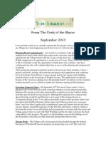 September 2013 Flesichmanns Mayor's Newsletter