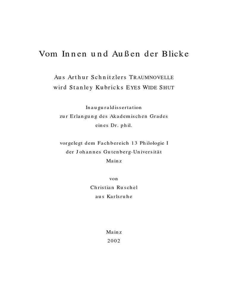 Vom Innen und Außen der Blicke - Aus Arthur Schnitzlers TRAUMNOVELLE ...
