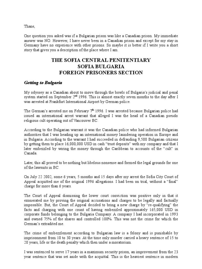 Bulgaria v  Canada Prisons   Solitary Confinement   Prison