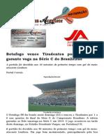 Botafogo vence Tiradentes por 1 a 0 e garante vaga na Série C do Brasileirão