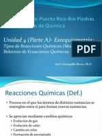 PPT Unidad 4-Parte A-Estequiometr+¡a Tpos de reacciones Qumicas  balanceo de ecuaciones