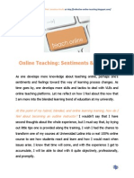 Online Teaching Sentiments and Feelings