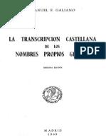 Galiano Manuel F La Transcripcion Castellana de Los Nombres Propios Griegos