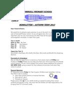 Year 6 Newsletter Autumn 2013