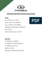 commonly used Hvac Formulae