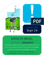 Sukkot Cookout at Congregation Kneseth Israel, Tuesday, September 24th,  5-7PM