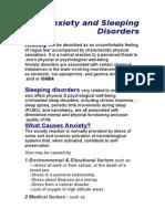 Anxiety and sleeping disorders