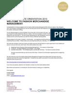 BA Fashion Merchandise Management Orientation Letter 2013 14