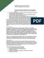 health classroom management plan