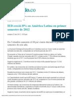IED creció 8% en América Latina en primer semestre de 2012