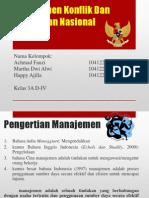 Manajemen Konflik Dan Ketahanan Nasional