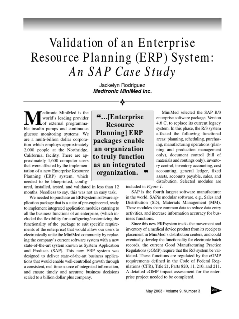 Validation of an Enterprise Resourse Planning System (ERP ...