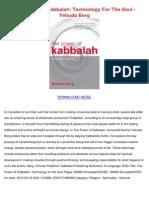 The Power of Kabbalah Technology for the Soul Yehuda Berg