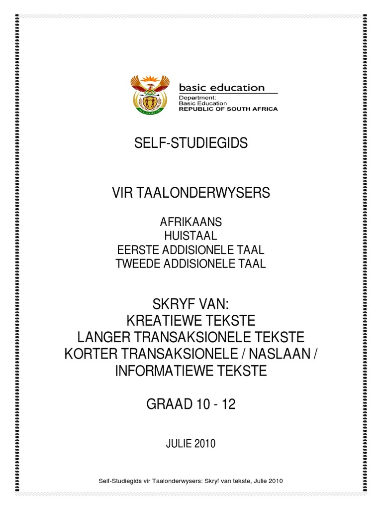 Self Study Afrikaans Gr 10 12