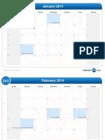 2014 Month Calendar