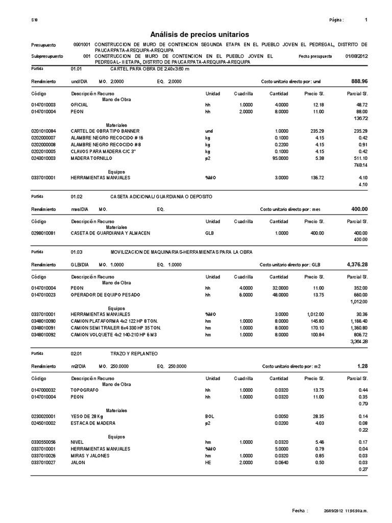 analisis de costos unitarios....MURO DE CONTENCION (2).pdf - photo#9