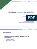 How to Do a Paper Presentation
