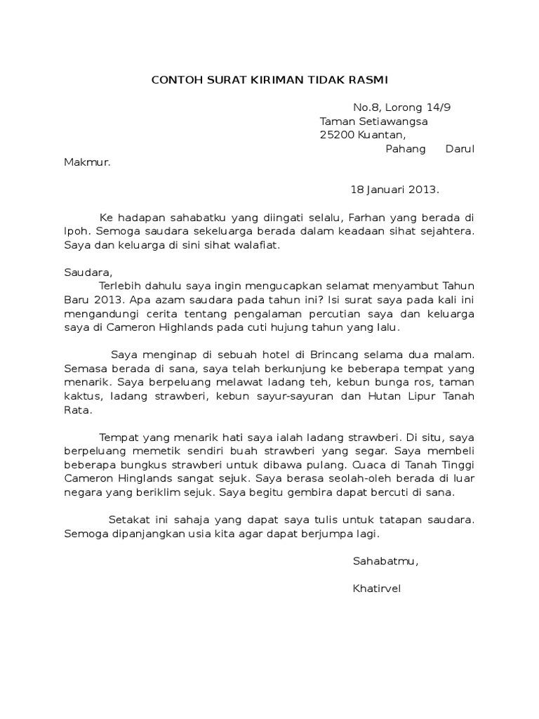 Contoh Surat Kiriman Tidak Rasmi