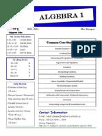 8th grade algebra 1 parent syllabus