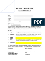 The Apprentice - Release Form
