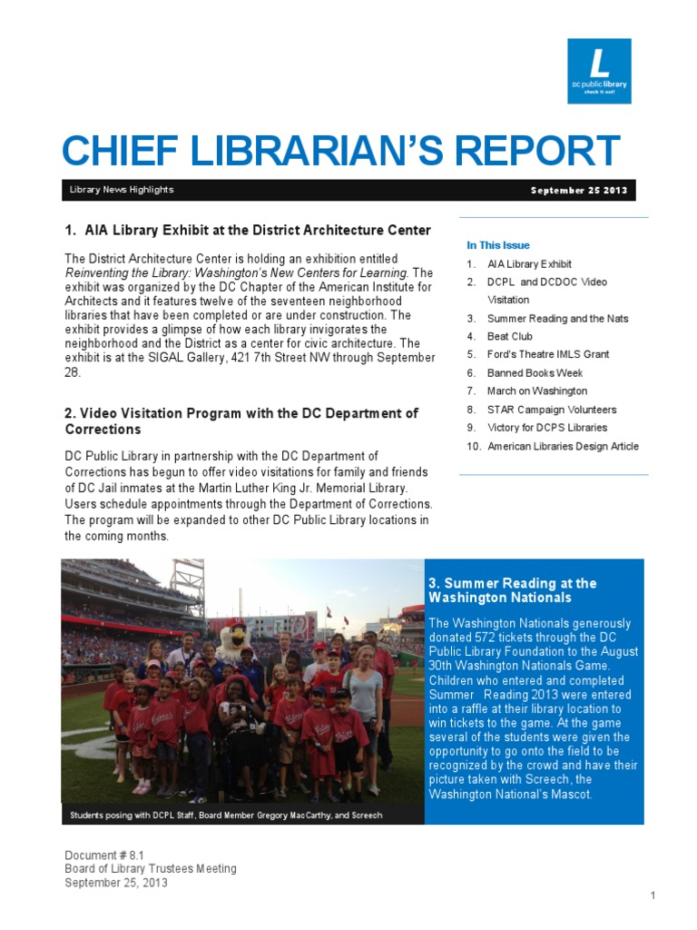 Document #8 1 - Chief Librarian's Report | Public Library