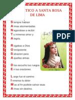 ACRÓSTICO A SANTA ROSA DE LIMA
