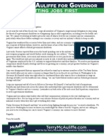 McAuliffe Letter to VA Congressional Delegation