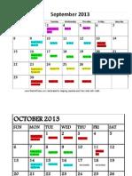 Calendar for AP Psych