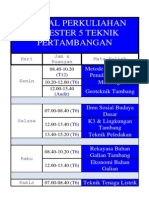 Jadwal Perkuliahan Semester v Teknik Pertambangan