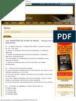 100 QUESTÕES DE DIREITO PENAL - Perguntas e Respostas.