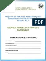 Segunda Prueba de Avance Matemtica Primer Ao de Bachillerato Praem 2013
