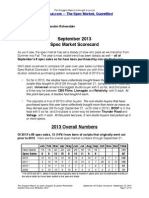 Scoggins Report - September 2013 Spec Market Scorecard