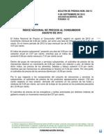 ÍNDICE NACIONAL DE PRECIOS AL CONSUMIDOR AGOSTO 2013