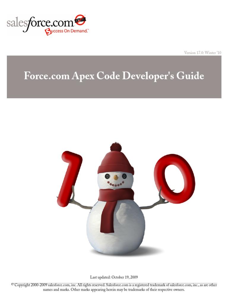 Salesforce Apex Language Reference | Salesforce.Com | Application  Programming Interface