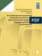 Los retos de la incorporación deL EMPODERAMIENTO  en el idh. lecciones de felicidad, economia y calidad de vida