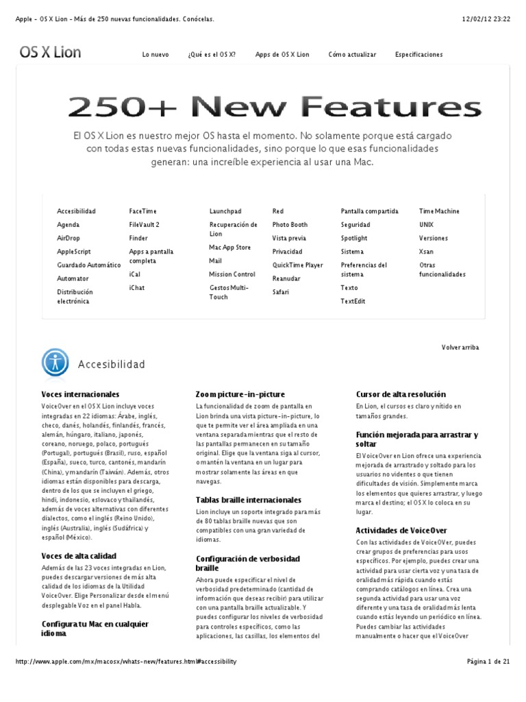 Apple - OS X Lion - Más de 250 nuevas funcionalidades. Conócelas.