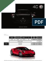 Listino ITALIA Alfa Romeo 4C - Settembre 2013