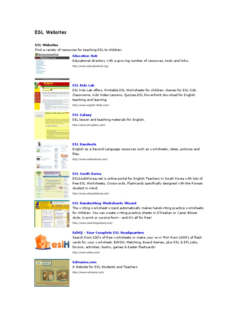 ESL Websites   English As A Second Or Foreign Language   Human ...