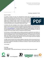 Letter President of Ecuador Rafael Correa from Denmark