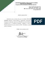 Declaração - Participação na 3ª e 4ª Semana de Formação - IFAC - Rio Branco - 02 a 10.09.2013 - Meio Ambiente e Cadeias Produtivas Extrativistas
