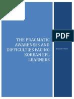 The Pragmatic Awareness and Difficulties Facing Korean EFL Learners